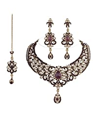 I Jewels Traditional Gold Plated Kundan Necklace Set With Maang Tikka For Women(K7033Pu)(Purple)