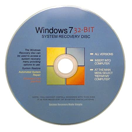 Windows 7 32 Bit Recovery Boot Disc Disk CD [ALL VERSIONS, 2012 Latest]