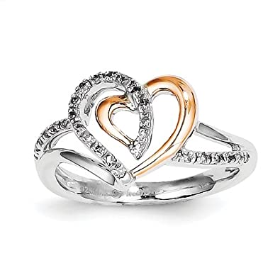 Sterling Silver & 14k Gold Heart Diamond Ring