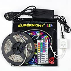SUPERNIGHT(TM) 5M LED Strip 16.4 Feet RGB Color Changing Kit with LED Flexible Strip, SMD 5050, waterproof, 44 Button Remote Controller + 12 Volt Power Supply Lights Lighting ideal for X'mas Chrismas, Party, Indoor/ Outdoor decoration