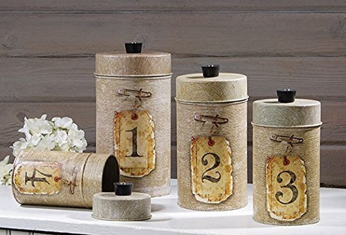 Burlap Look Food Safe Tin Canister Set Vintage Prim Rustic Country Kitchen Decor 0