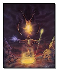 Warlock Wizard Fighting Fire Dragon #3 Fantasy Wall Picture 8x10 Art Print