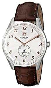 TAG Heuer Men's WAS2112.FC6181 Carrera Silver Dial Brown Leather Strap Watch