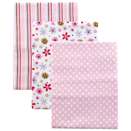 Luvable Friends 3 Count Flannel Receiving Blankets, Pink