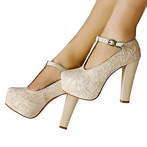 Getmorebeauty Women's Marty Janes T-STRAPPY Lace Women Dress Wedding Shoes (6.5 B(M) US)