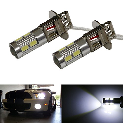 Ijdmtoy® (2) 6500K Hid Xenon White 10-Smd H3 Led Replacement Bulbs For Car Fog Lights Driving Lamps