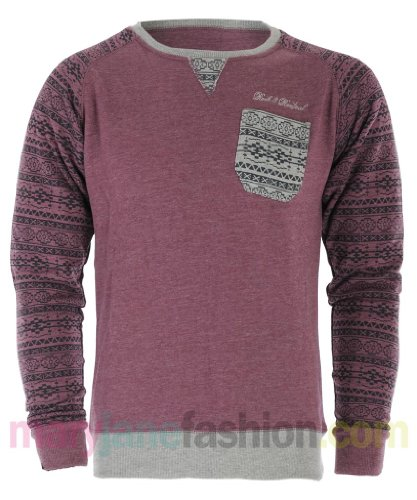 Mens Rock & Revival Aztec Fairisle Pocket Sleeve Sweatshirt Jumper XL Berry