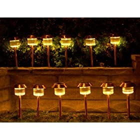 Set of 12 Belmont Solar Path Light Stainless Steel Brushed Copper Finish Outdoor Lamps