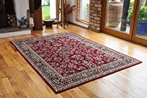 Antique Wine Red Patterned Border Design Rug - 4 Sizes Available from The Rug House
