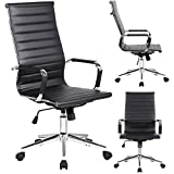 2xhome - Black- Modern High back Tall Ribbed PU leather with wheels arms Arm Rest w/Tilt Adjustable seat Designer Boss Executive Office Chair Work Task Computer Executive Arms Large Chrome Heavy-Duty Base Swivel Furniture for Conference Room Reception Erg