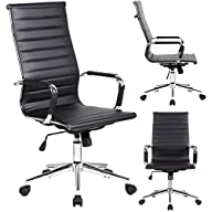 2xhome Executive Office Chair Ribbed PU leather With Wheels Arms, Arm Rest, Tilt Adjustable Seat,…