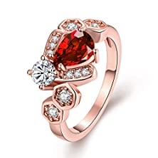 buy [Eternity Love] Women'S Pretty 18K Rose Gold Plated Elegant Imitation Oval Cut Ruby Pear Crystal Wedding Engagement Band Rings Best Promise Rings For Her Tivani Anniversary Collection Jewelry Rings