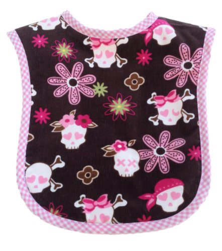 Patricia Ann Designs Sweet Skull Reversible Bib, Pink Fleece And Pink Check Trim front-58750