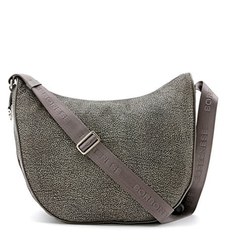 Borsa a tracolla Borbonese Luna Bag medium in Jet op fango