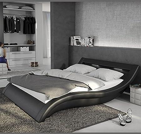 Design Ameublement - Lit design Atenas - Noir avec LED - 180x200cm