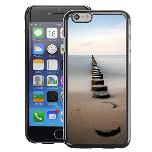 A-type Colorful Printed Hard Protective Back Case Cover Shell Skin for iPhone 6 (Sea Pier Dock Sand Ocean Horizon)