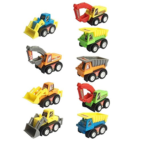Mini Push Pull Back Car Model Kit Set Plastic 9 Pcs Play Vehicle Construction Excavator Dump Truck Playset Preschool Learning for Children Toddlers Kids Birthday Gift (Boy Toys Age 1 compare prices)