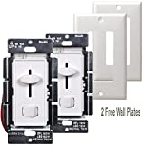 Enerlites 59302-W 3 Way Dimmer Switch for Dimmable CFL, LED, Incandescent, Halogen Lights, White, 2 Pack