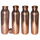 Prisha India Craft ® DIWALI GIFT - 600 Ml / 20.28 Oz - (Set Of 4) Traveller's 100 % Pure Copper Water Bottle For...