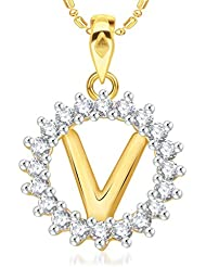 "VK Jewels Alphabet Initial Letter ""V"" Gold And Rhodium Plated Alloy Pendant With Chain For Men & Women- P1968G..."