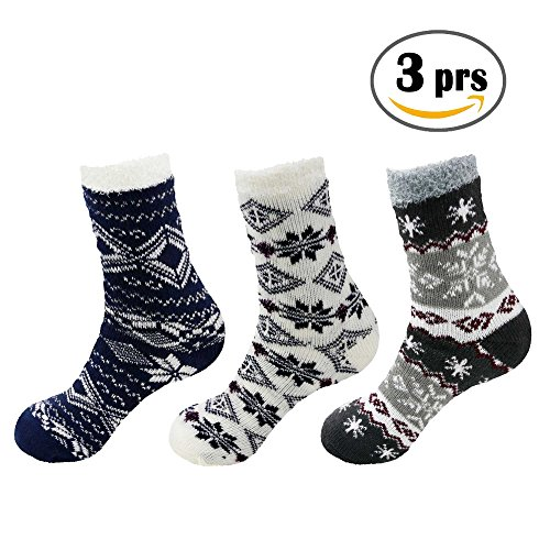 Double Layer Extra Thick Super Soft Warm Fuzzy Cozy Home Socks - 3 prs - Assortment 07 (Extra Thick Womens Socks compare prices)