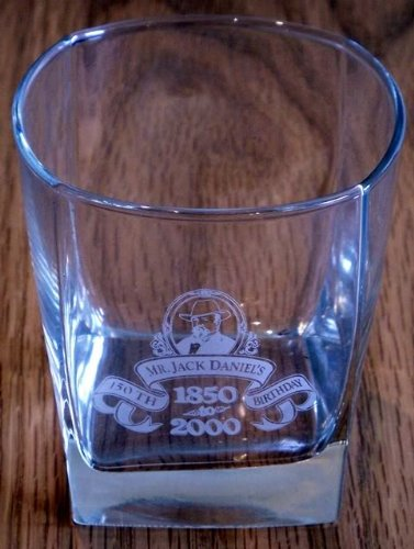 Jack Daniels Whisky Glass Etched 150th Birthday RARE