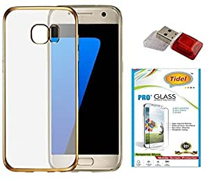 Tidel TPU Back Cover for Samsung Galaxy A5 2016 Edition - Gold With Tidel 2.5D Curved Tempered Glass &DATA CARD READER