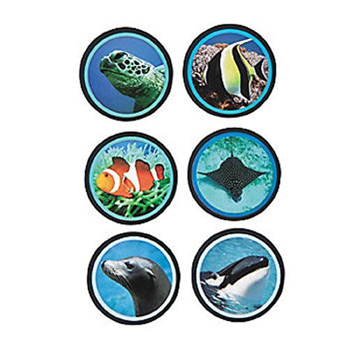 "1 Roll ~ Ocean Life Roll Stickers ~ 100 Stickers / Approx. 1.5"" ~ New / Shrink-wrapped"