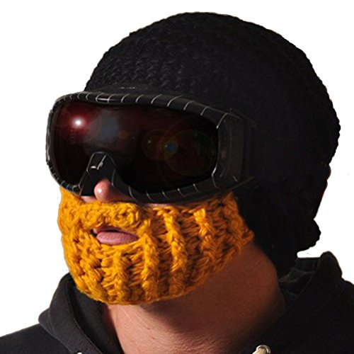 Mens Ski Wacky Beard Knit Winter Hat Beanie,Yellow Beard