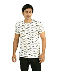 Hypernation White Color Shark Printed Half Sleeves Round Neck T-Shirts For Men