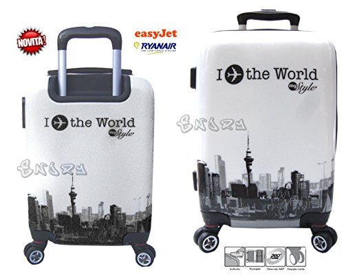 trolley Bagaglio a mano cabina per voli low cost in abs rigido 4 ruote + asta estensibile -loco by crazy shoes (fantasia 12)