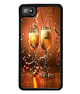 Fuson Premium Sparkling Champagne Metal Printed with Hard Plastic Back Case Cover for Blackberry Z10