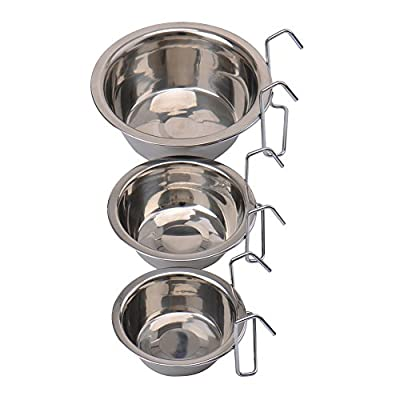Durable Stainless Steel Cage Coop Cup Bird Cat Dog Puppy Crate Food Water Bowl with Hanger New
