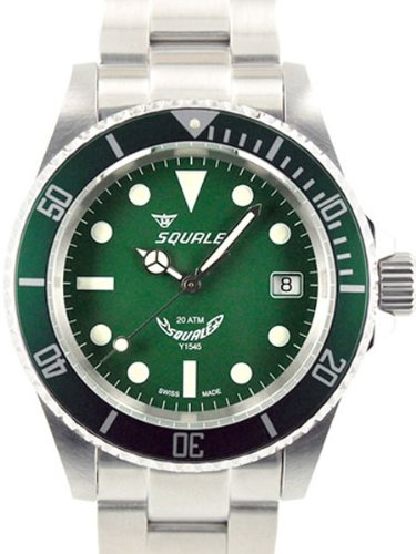 squale 200 meter mint green swiss automatic dive watch with domed