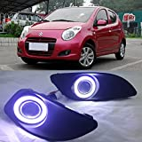 AupTech CCFL Angel Eyes DRL Yellow Color Fog Light with H11 55W Halogen Bulbs for Suzuki Alto 2009-2012