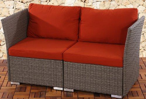 2er Sofa 2-Sitzer Siena Poly-Rattan, Gastronomie-Qualität ~ grau mit Kissen in bordeaux