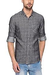 Spykar Mens Dark Grey Slim Fit Shirts