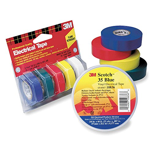 """Electrical Tape, 1/2 In X 20 Ft, 7 Mil, Pk5 35 1/2"""" X 20'"""