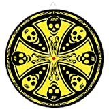 Maltese Cross Skull Throwing Knife Target Dart Board