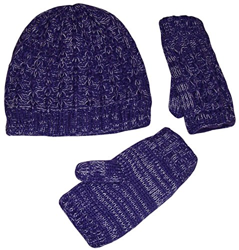 N'Ice Caps Girls Heather Yarn Cable Knit Hat and Half Glove Set With Fleece Lining (4-12yrs, Purple)
