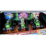 2012 Hot Wheels Monster Jam Anniversary Set GRAVE DIGGER: 3 Trucks 20th, 25th, and 30th Anniversary Editions 1:64 Scale