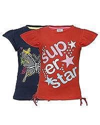 Punkster Navy Blue & Red T-Shirt Combo For Girls