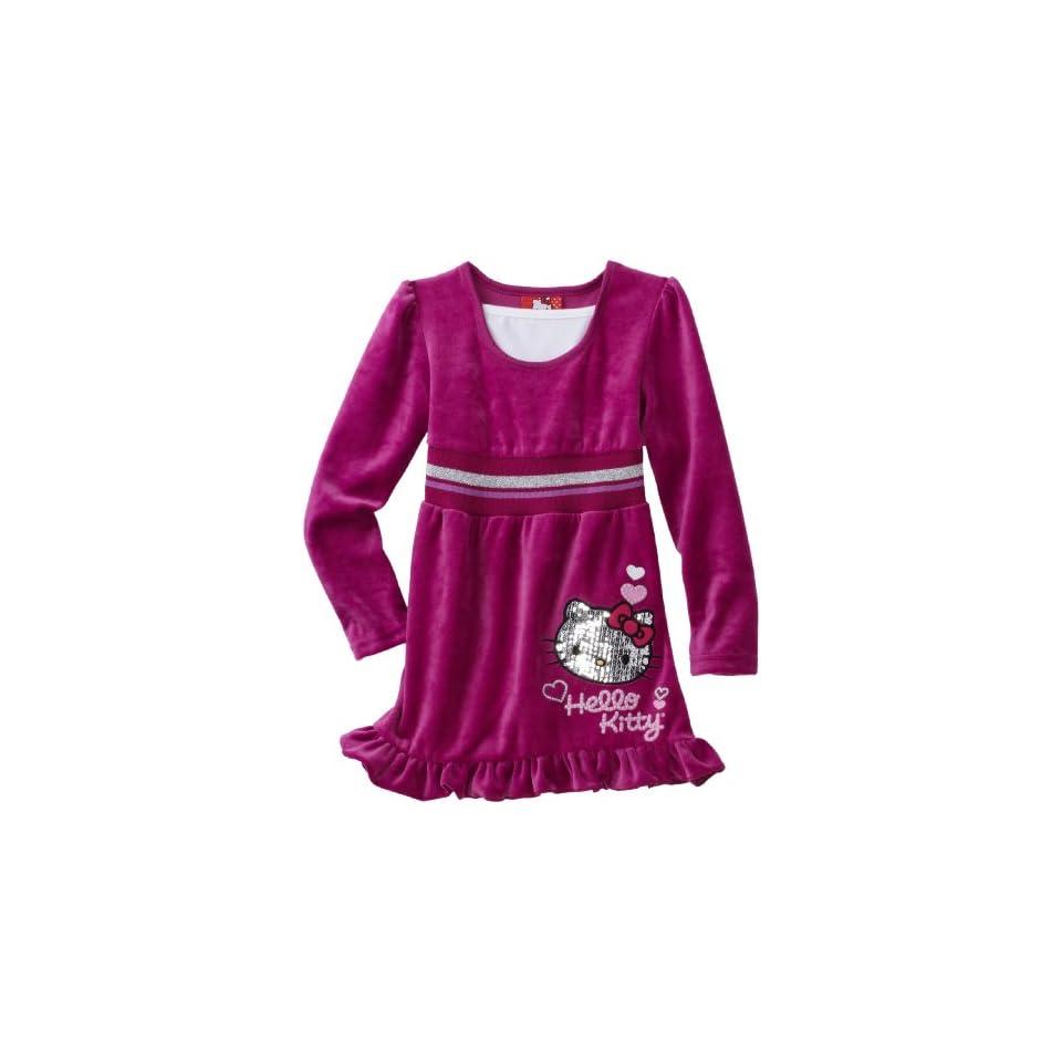 Hello Kitty Little Girls Mini Sequins on Velour Dress, Wild Aster, 2T
