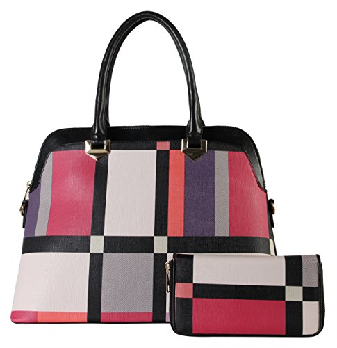 rimen-co-plaid-fashionable-tote-with-matching-wallet-set-bgz-3648-black