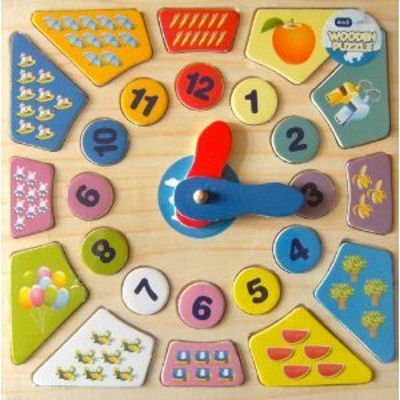 A to Z Wooden Clock Puzzle with Counting Pictures