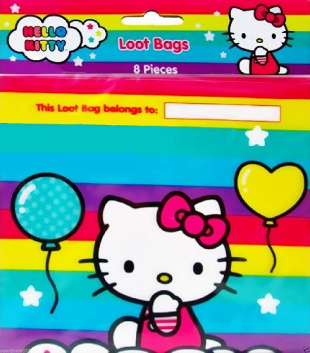 Hello Kitty BALLOON RAINBOW Party Loot Treat Bags (Pack of 8) - 1