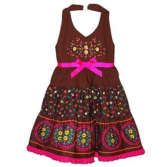 Blueberi® Toddler Girls' Spring Dress, Floral Halter Sundress, Pink/Brown, Size: 2T