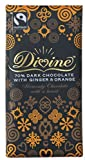 Divine 70% Dark with Ginger and Orange Fairtrade Chocolate 100 g (Pack of 5)