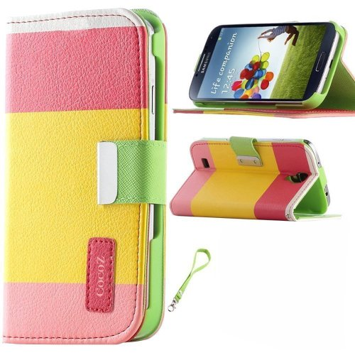 Cocoz® Colorful Pu Leather Wallet Type Magnet Design Flip Case Cover for I9500 +Dust Stylus(pink Yellow Green)fs-00307