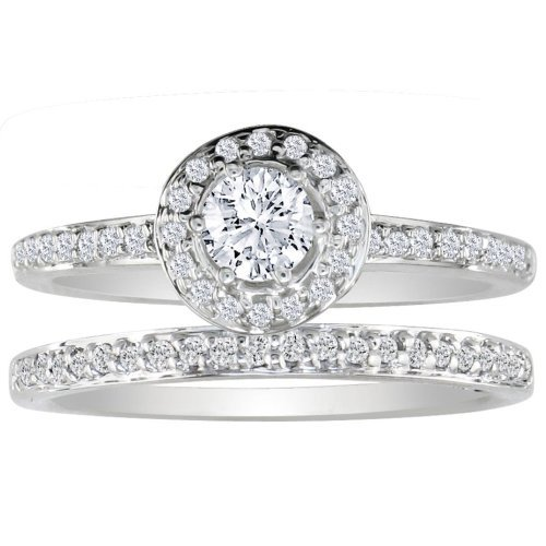 SuperJeweler 1/2ct Pave Diamond Bridal Engagement Ring Set in 14k White Gold ( GH I1 )